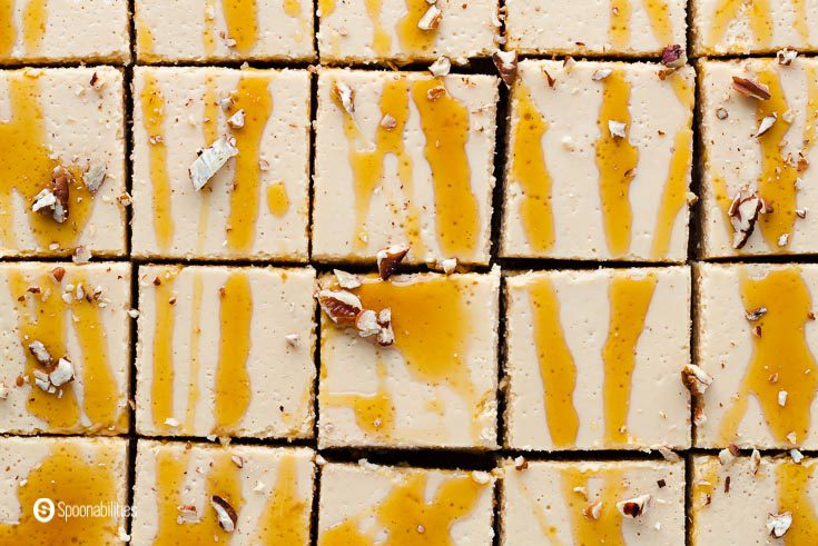 Close up photo from overhead with 15 bars with Maple drizzle and chopped pecans. Recipe at Spoonabilities.com