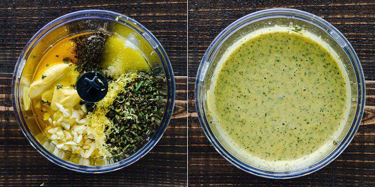 Two photos together in a small food processor container. The left photo has the ingredients for the honey mustard seasoning before blending and on the right after blending. Recipe at Spoonabilities.com