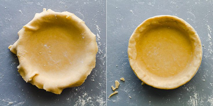 Photo collage with two photos: The first one with the pie dough in the pie dish with overhanging dough, and the second photo after we remove any overhanging and tucked the dough on the edges of the pie dish.