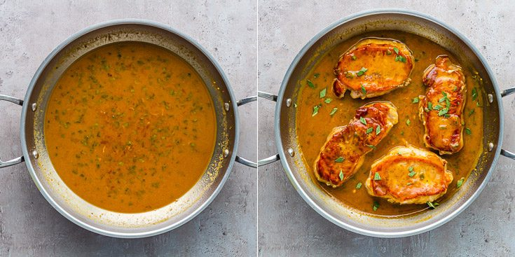 Two photos: the left photo with the apricot Dijon mustard sauce with the four seared pork chops. Recipe at spoonabilities.com