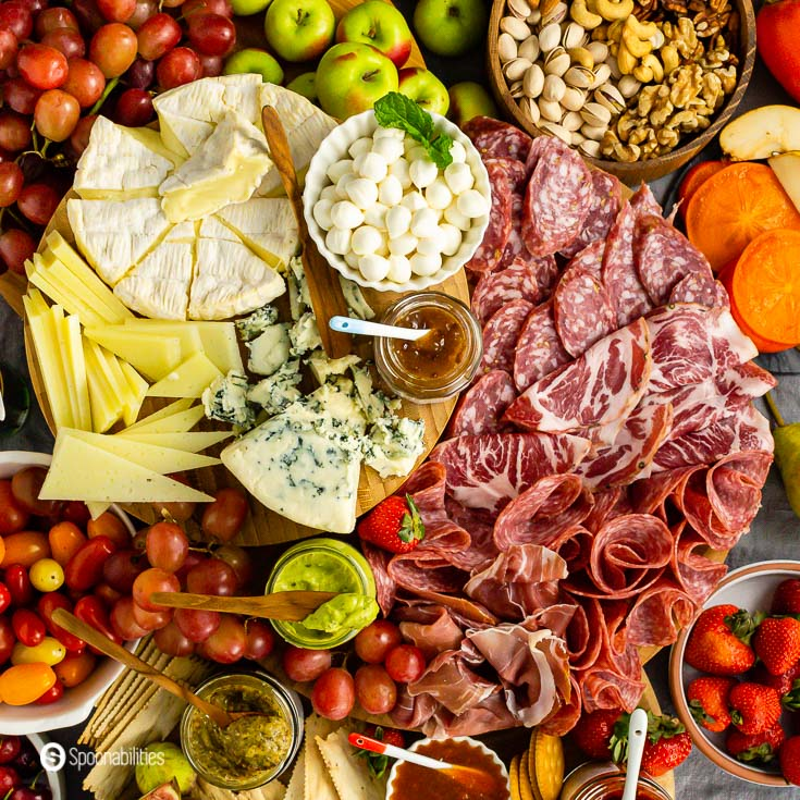 cheeseboard and charcuterie board with some gourmet products. Charcuterie Board Ideas Recipe at Spoonabilities.com