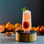 Beautiful tall glass with a blood orange cocktail topped with ginger beer. The glass is on top of a wood/marble pedestal, and in the background, some fresh blood oranges. Recipe for this ginger beer cocktail at Spoonabilities.com