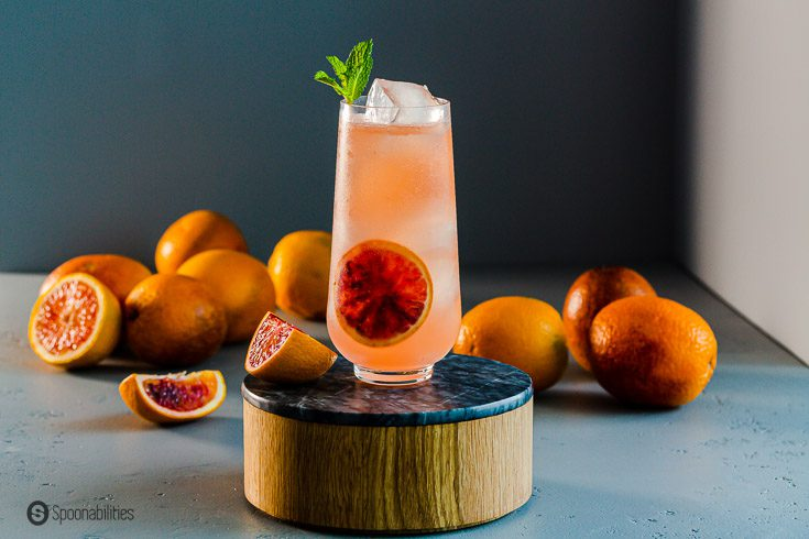 A tall glass in a pedestal with a ginger beer cocktail. in the background fresh blood oranges. Recipe at Spoonabilities.com