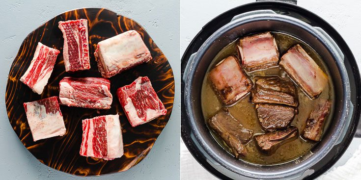 Two photos: on the left side raw short ribs and on the right side a cooked short ribs in the instant pot. Recipe at Spoonabilities.com