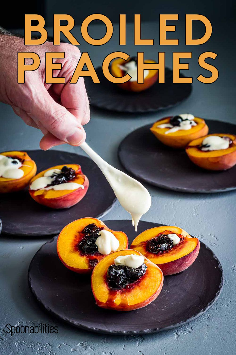 Broiled Peaches with Black Cherry Preserves and Crème Fraiche