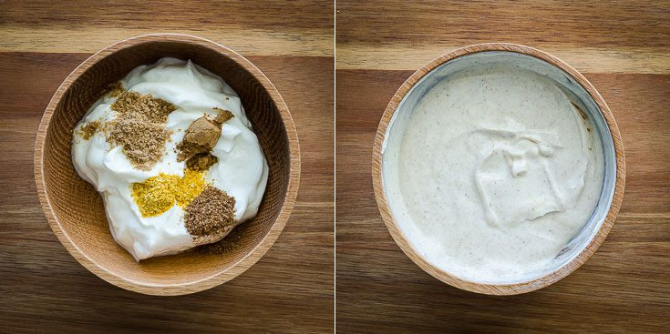Two steps on how to make the Greek Yogurt Garam Masala Dipping Sauce. There are two photos, one bowl with the ingredients and the second one already mixed. Recipe at Spoonabilities.com