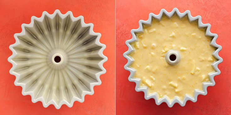 Two photos with the Nordic Ware Brilliance Bundt cake mold, The first photo is the empty mold greased with Baker's Joy baking spray and the second photo with the cake batter. Recipe at Spoonabilities.com