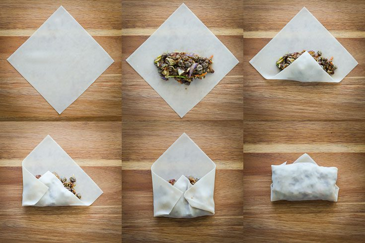 Step-by-step directions with photos of how to wrap vegan egg rolls. Recipe at Spoonabilities.com