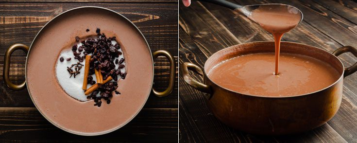 A large pot in two photos The photo on the left side shows the different ingredients before cooking the sweet beans, and the second photo shows the consistency of the cream of sweet beans. Learn more about this Dominican dessert recipe at Spoonabilities.com