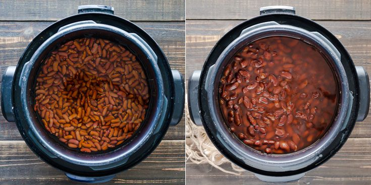 Two photos show the beans before cooking and the other one after being cooked in the pressure cooker. Learn more about how to cook beans at Spoonabilities.com