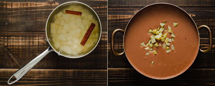 One photo shows the cubed white sweet potatoes in a small pot, and the other photo shows the habichuelas con dulce and the cooked batatas. Learn what is batatas at Spoonabilities.com