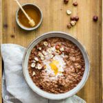Chocolate Oatmeal Recipe with hazelnut and honey topping