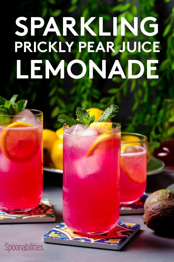 A Close up of a tall glass with Prickly Pear Juice Sparkling Lemonade recipe.