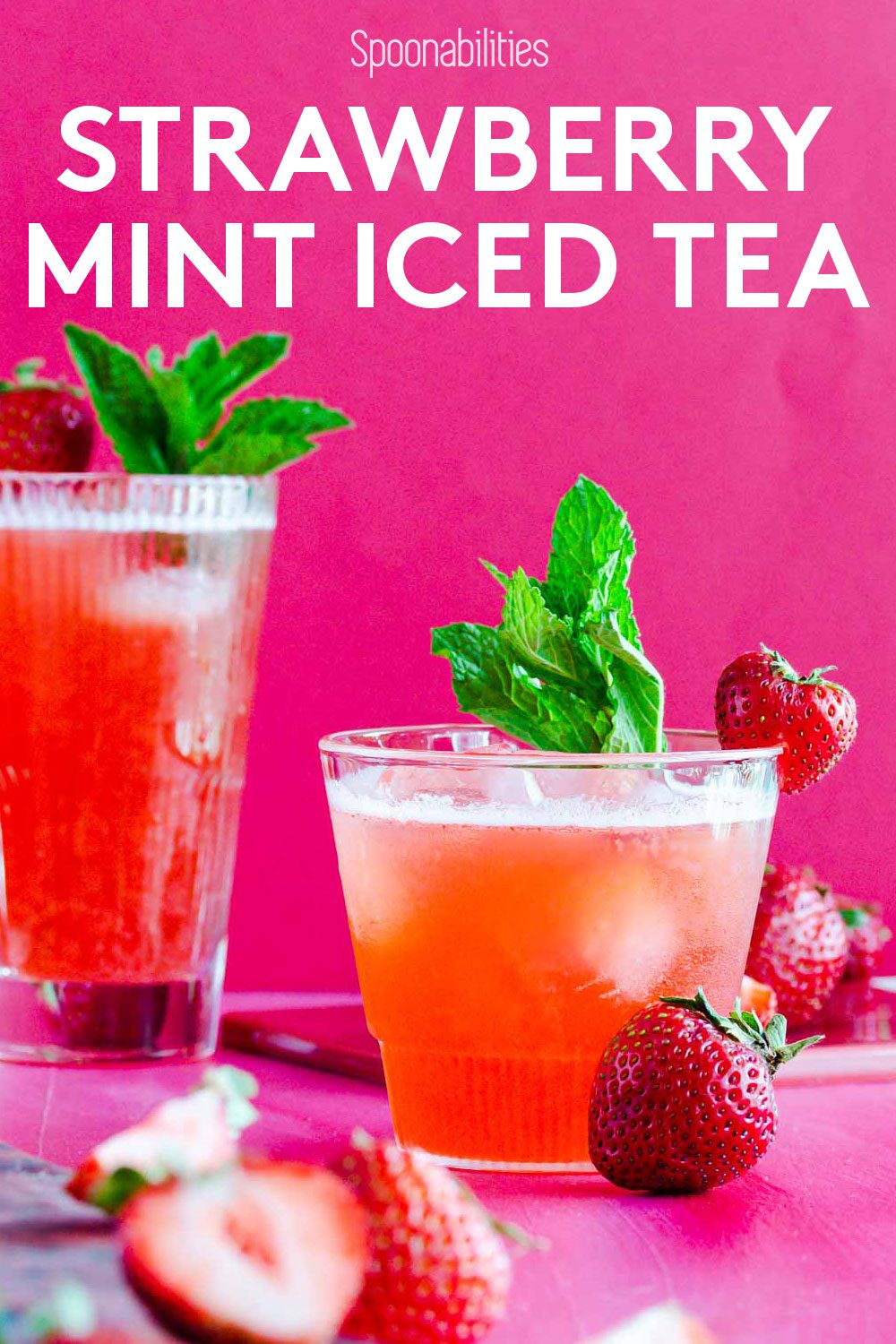 Sparkling Strawberry Mint Iced Tea | Fruity Summer Drink