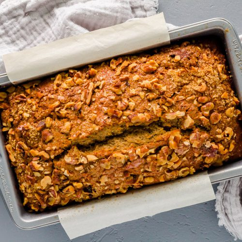 The banana bread on the baking pan after came out of the oven.