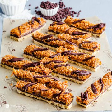 Girl Scout samoas cookies made into bar form
